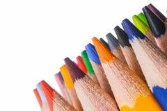 Dozijn kleurrijke potloden Stock Afbeelding