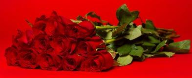 Dozijn rode rozen op een rode achtergrond stock foto's