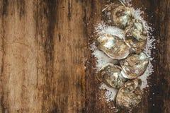 Dozijn verse oesters op het houten en overzeese zout Hoogste mening royalty-vrije stock foto's