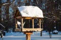 Dozowniki dla ptaków w parku w zimie na jasnym dniu Zdjęcia Royalty Free