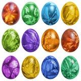 Dozzina uova di Pasqua variopinte dipinte a mano e decorate con le impronte delle foglie dell'erbaccia isolate su fondo bianco immagini stock libere da diritti