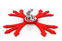 3dperson sitting on a target and arrows. 3d render of person sitting on a target and arrows Royalty Free Illustration