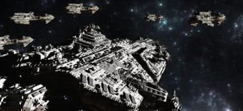 Déploiement de flotte de bataille de l'espace Images stock