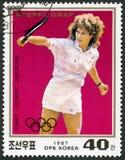 DPR韩国-大约2016年:展示Stefanie玛丽亚施特菲・格拉芙出生1969年,系列罗兰・加洛斯诞生百年和网球 免版税库存照片