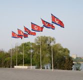 DPRK (North Korea) flags in Pyongyang Stock Images