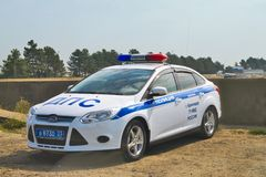 DPS car is on side of repaired road M-4 Don Stock Photography