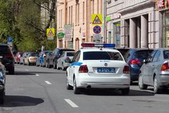 DPS police car on the street of St. Petersburg. St. Petersburg, Russia - May 04, 2019: police car on the street of St. Petersburg on a sunny day royalty free stock image