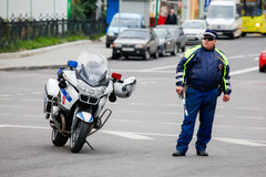 DPS police  inspector near a motorcycle Royalty Free Stock Images