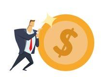Dräkt för affärsman som i regeringsställning framåtriktat skjuter det stora skinande dollarmyntet Uppnå mål Lopp för framgång Sis vektor illustrationer