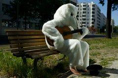 Dräkt för BuskerStreet Performer In björn som spelar gitarren Arkivbild