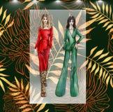 Dräkt för modeillustrationcoctail och modecollage vektor illustrationer