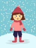 Dräkt för vinter för flickakläderrosa färger Arkivbilder
