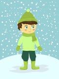 Dräkt för vinter för pojkeklädergräsplan i vintersnöbakgrund Royaltyfria Bilder
