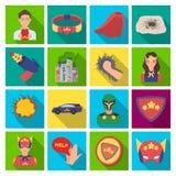 Dräkt, tecken, stålman och annan rengöringsduksymbol i plan stil Livräddare beskyddande, supermaktsymboler i uppsättningsamling Royaltyfri Foto