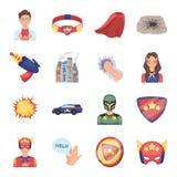 Dräkt, tecken, stålman och annan rengöringsduksymbol i tecknad filmstil Livräddare beskyddande, supermaktsymboler i uppsättningsa Fotografering för Bildbyråer