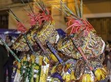 Dräkter av den årliga hed- och kristenfestivalen arkivfoton