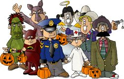 dräktgruppen halloween lurar deras vektor illustrationer