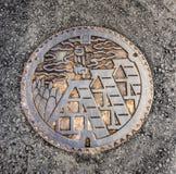 Dräneringräkningen på Shirakawa-går byn, Japan Arkivfoto