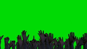 Drängen Sie sich, Hände anhebend und auf einem grünen Schirmhintergrund zujubelnd stock video