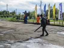 Dróg naprawy w Kaluga regionie w Rosja Zdjęcia Royalty Free