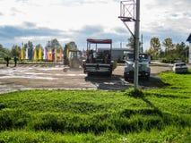 Dróg naprawy w Kaluga regionie w Rosja Obraz Stock
