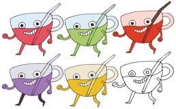 Drôle heureux d'aspiration de main d'ensemble de couleur de monstre de tasse de griffonnage de bande dessinée d'impression illustration stock