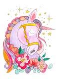 Dröm av enhörningen Stjärnorna och blommorna omkring Magiskt djur Vattenfärgkonstverk Sida för färgläggningbok för vuxna människa vektor illustrationer