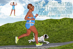 Dröm för kondition för motivation för mål för kvinnaspring jogga Royaltyfria Bilder