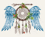 Dröm- stoppare med vingar royaltyfri illustrationer
