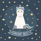 Dröm- stor affisch, hälsningkort med den gulliga enhörningen arkivfoton