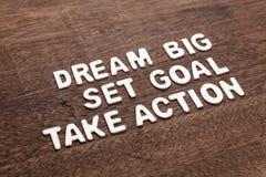 Dröm- stora - det fastställda målet - tar handling Arkivbilder
