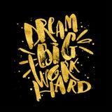 Dröm- stort arbete hårt Glit för guld för motivation för begreppshandbokstäver stock illustrationer