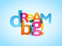 DRÖM- STORT! typografibaner på blå bakgrund stock illustrationer