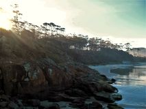 Drömlik afton på den Tasmanian kusten royaltyfri foto