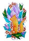 Drömlik brandräv på bakgrunden av blommor stock illustrationer