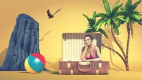 Drömlik flicka i semester Arkivfoton