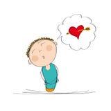 Drömlik pojke som tänker av förälskelse vektor illustrationer