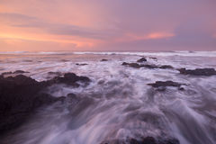 Drömlik rosa solnedgång Arkivfoton