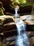 Drömlik vattenfall i skog med fläckigt solljus till och med träd arkivbilder
