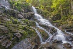 Drömlik vattenfall med vårlandskap Arkivfoton