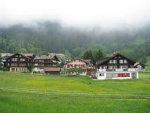 Drömlika hus i Grindelwald Royaltyfri Bild