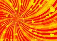 Drömlika ljusa hjärtor på solen rays bakgrunder Royaltyfri Fotografi