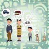 Drömma för familj Stock Illustrationer