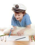 drömma för lockkaptenbarn royaltyfria bilder