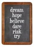 Drömma, hoppas, tro, våga, riskera försöker på balckboard Fotografering för Bildbyråer