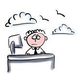 drömma kontorsarbetare royaltyfri illustrationer