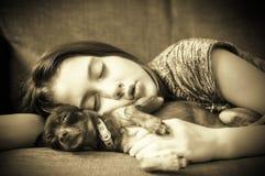drömma som är sött Liten flicka som sover med hennes lilla favorit- hund royaltyfria foton
