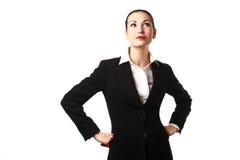 drömma tänkande kvinna för affär Arkivbild