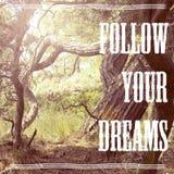 drömmar följer ditt royaltyfri bild