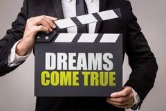 Drömmar kommer riktigt på en begreppsmässig bild royaltyfri fotografi
